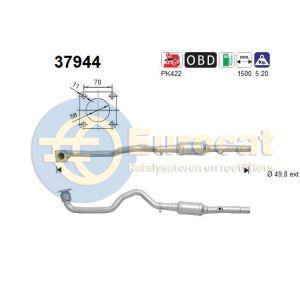 Leon / Octavia / Golf IV (1.4i-16V BCA) 10/01- katalysator met voorpijp