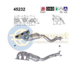 E53 5/00- (X5 3.0i) / E60 (520i/530i) / E61 (525i) / E65 (730i) / E66 (730Li) voorste katalysator