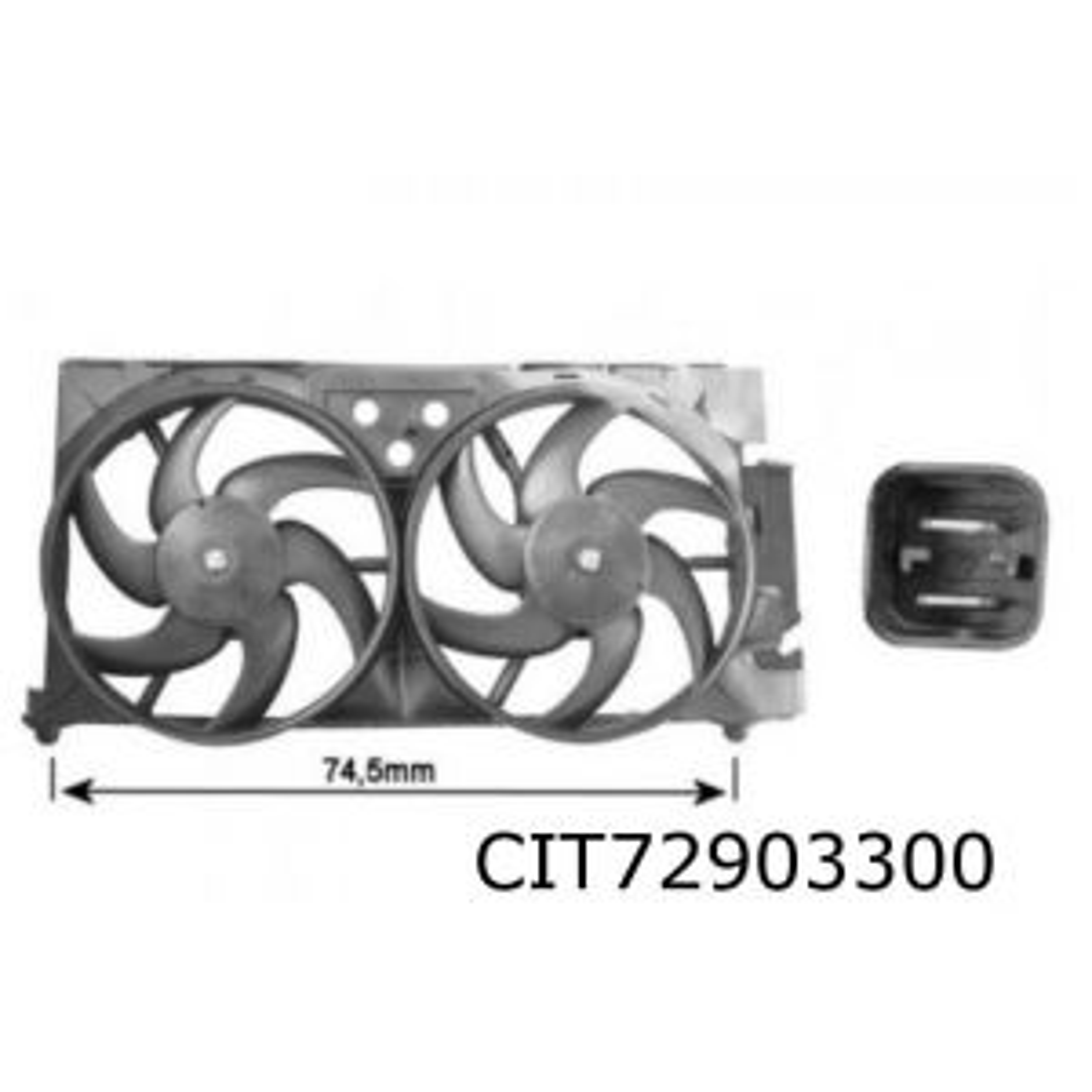 Berlingo / Xsara / ZX (1.8D / 1.9D / 2.0HDi 66Kw.) ventilatorunit (voor GATE)
