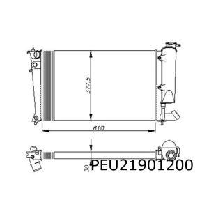 306 I/II -10/98 / Zx / Xsara 9/97-9/98 (Benz.) Radiateur (61 Cm Breed)