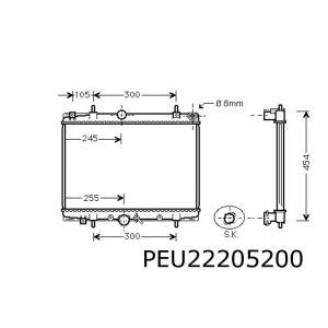 607 (2.0HDi) / 406 4/99- / C5 3/01- (1.8-16V / 2.0-16V / 2.0HDi) radiateur