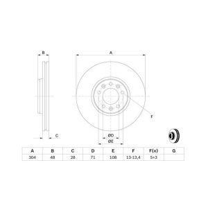 C5 III / Jumpy / 407 / Expert (Behalve 3.0I-V6/2.2Hdi/2.7Hdi) Remschijf Voorzijde