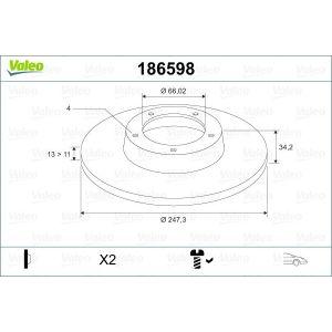 Xsara / 306 (1.4I/1.5D) / 206 / 206+ (1.1I/1.4I/1.4Hdi) Remschijfset Voorzijde