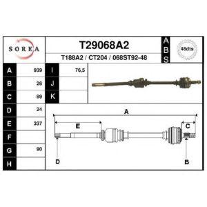 XM / 605 (2.0i / 2.1D) Aandrijfas Rechts ABS 48T