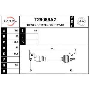 XM / 605 (2.0 Turbo / 2.1TD) Aandrijfas links ABS 48T