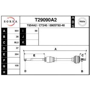 XM / 605 (2.0 Turbo / 2.01 / 2.1TD) Aandrijfas Rechts ABS 48T