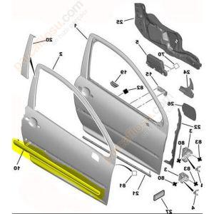 Stootlijst voorportier rechts. Peugeot 207