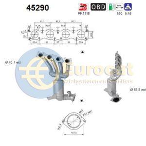 116i / 118i / 316i / 318i (1.6D) 09/07- katalysator voorzijde