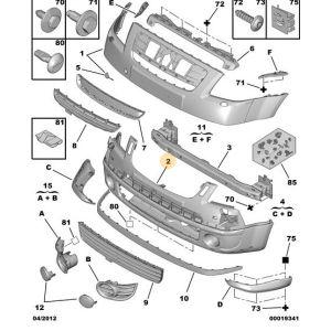 C2 -5/08 Voorbumper Onderdeel (Primer)