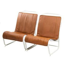 2CV bekleding bruin skai geperforeerd 2 voorstoelen