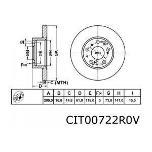 C25 / J5 1800Kg Remschijfset Voorzijde