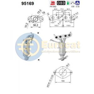 Trezia / Auris / Corolla / Verso / Yaris (1.3i) 11/10- Katalysator voorzijde